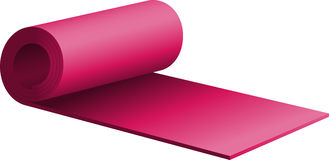 Purple half-rolled up exercise mat Stock Image