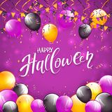 Purple Halloween background with balloons and pennants. Lettering Happy Halloween on purple background with multicolored balloons, pennants, streamers and Royalty Free Stock Images
