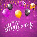 Purple Halloween background with pennants and balloons. Text Happy Halloween on an purple background with holiday images, colorful balloons, pennants, streamers Stock Images