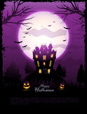 Purple Halloween haunted house background Royalty Free Stock Photos