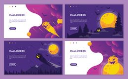 Purple halloween night scene with pumpkin and moon. landing page website design template, background and banner. vector illustration