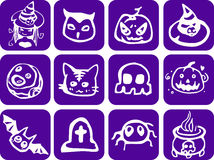 Purple Halloween Set Stock Photo