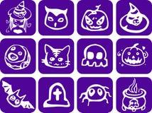 Purple Halloween Set Stock Photo