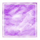 Purple hand drawn watercolor rectangular frame background texture with stains. Modern design element stock illustration