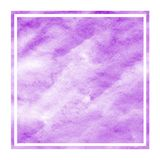 Purple hand drawn watercolor rectangular frame background texture with stains. Modern design element royalty free illustration