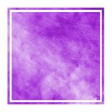 Purple hand drawn watercolor rectangular frame background texture with stains. Modern design element stock image