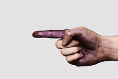 Purple Hand showing one Finger Royalty Free Stock Photography