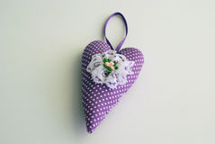 Purple Handmade heart. Dotted purple heart by handmade on a white background Royalty Free Stock Photos