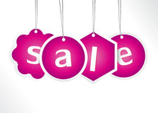 Purple hanging sale labels. Stock Images
