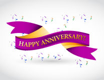 purple happy anniversary ribbon vector illustration