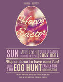 Purple Happy Easter Egg hung poster template. Purple Easter Egg Hunt flyer or poster template with abstract egg illustration Royalty Free Stock Photography