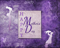 Purple Happy Mother`s Day. Purple grunge background Happy Mother`s Day with mom and kids silhouettes Stock Photography