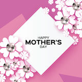 Purple Happy Mothers Day. Brilliant stones. Paper cut flower. Rhombus frame. Royalty Free Stock Photos