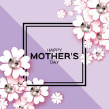 Purple Happy Mothers Day. Brilliant stones. Paper cut flower. Square frame. White Floral Greeting card with Brilliant stones. International Happy Mothers Day Stock Photo
