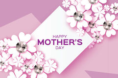 Purple Happy Mothers Day. Brilliant stones. White Paper cut flower. Rhombus frame. Stock Photos