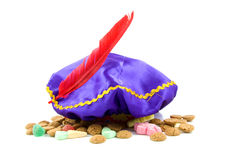 Purple hat of Zwarte Piet and ginger nuts royalty free stock photo