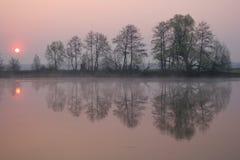 Purple haze. At sunrise in May 2005 Russia Belgorod region river Oskol Royalty Free Stock Photography
