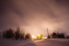 Purple haze. A long exposure shot in middle of the -25°C night during winter time in Kirovsk , Murmansk Oblast, Northern part of Russia Royalty Free Stock Photos