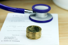 Purple Health Costs Stock Image