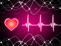 Purple Heart Background Means Heart Rate Fitness And Double Heli Royalty Free Stock Images