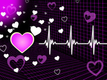 Purple Heart Background Means Organ Blood And Grid Royalty Free Stock Image
