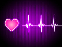 Purple Heart Background Shows Living Cardiac And Health Stock Photos