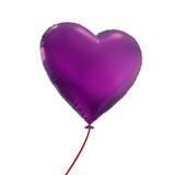 Purple heart balloon isolated on white background. Valentine's day purple heart balloon, 3d object isolated on white background Royalty Free Stock Image