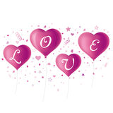 Purple heart balloons Stock Photo