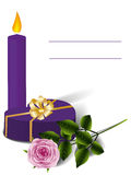 Purple heart-box, candle and rose Stock Photos