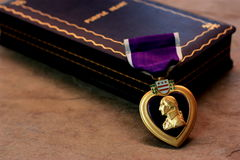 Purple Heart with case 2 Stock Photo