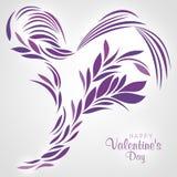 Purple Heart a conçu avec les lignes et les feuilles abstraites Photo stock