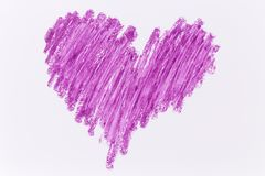 Purple heart crayon draw. On white paper Stock Images