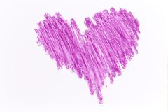 Purple heart crayon draw. On white paper Royalty Free Stock Photos
