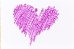 Purple heart crayon draw. On white paper Royalty Free Stock Image