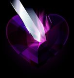 Purple heart-crystal and blade Stock Photos