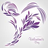 Purple Heart designed with abstract lines and leaves Stock Photo