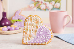 Purple heart gingerbread cookie Stock Photography