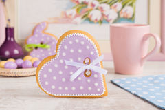 Purple heart gingerbread cookie Stock Photos