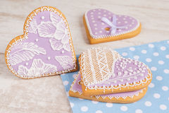Purple heart gingerbread cookie Royalty Free Stock Photography