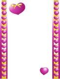 Purple heart gold bow border stock photos