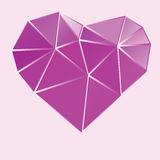 Purple heart low poly design Royalty Free Stock Images