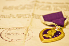 Purple Heart medal and letter Royalty Free Stock Photos