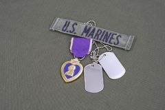 Purple Heart nagroda na USA żołnierzy piechoty morskiej oliwnej zieleni mundurze Obraz Royalty Free