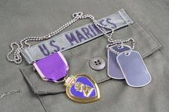 Purple Heart nagroda na USA żołnierzy piechoty morskiej oliwnej zieleni mundurze Fotografia Stock