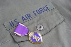 Purple Heart nagroda na USA siły powietrzne oliwnej zieleni mundurze fotografia royalty free