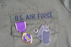 Purple Heart nagroda na USA siły powietrzne oliwnej zieleni mundurze obraz royalty free