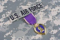 Purple Heart nagroda na USA siły powietrzne mundurze Zdjęcie Royalty Free