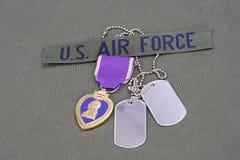 Purple Heart nagroda na USA siły powietrzne oliwnej zieleni mundurze Zdjęcia Royalty Free