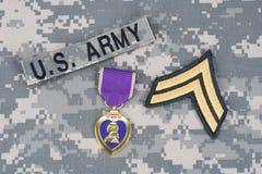 Purple Heart nagroda na wojsko usa mundurze obrazy stock
