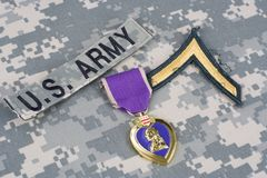 Purple Heart nagroda na wojsko usa mundurze Obraz Stock